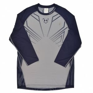 Mens Undeniable Baseball ¾ Sleeve Shirt Blue Grey